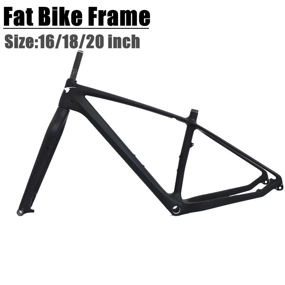 Carbon Snow Bike Frame With Fork 26er BSA Carbon Snow Bike Frameset Inner Cable Routing Beach Bike Frame UD Glossy/matt
