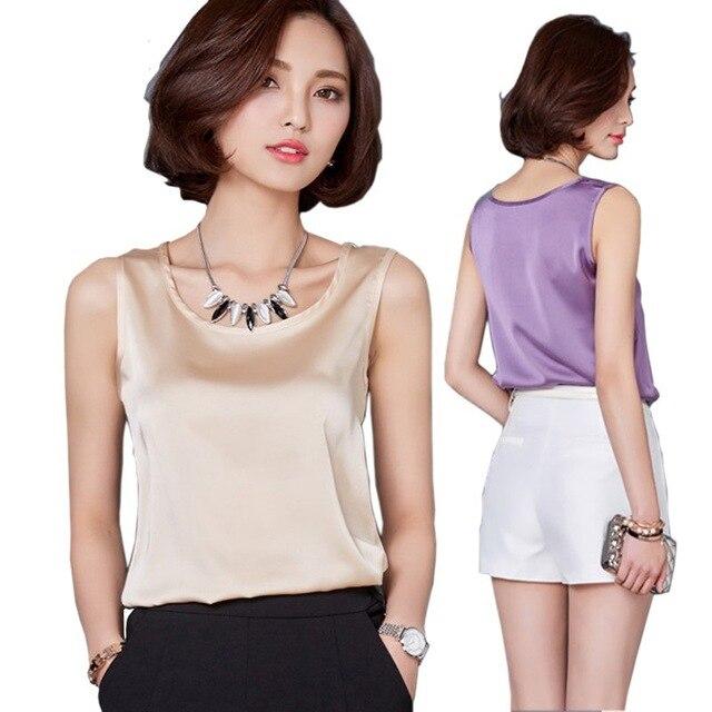 Camiseta sin mangas de verano de talla grande para mujer de color puro de satén de alta elasticidad simulación de seda sling chaleco superior mujeres Y163