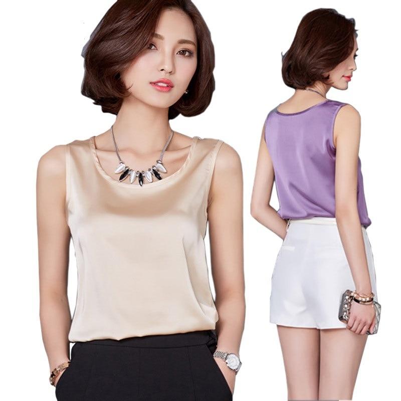 Plus size summer women's   tank     top   Pure color high-elastic satin simulation Silk sling vest   top   women Y163