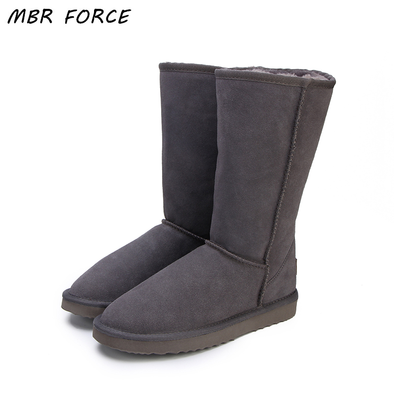 MBR FORCE Australia Classic Lady Shoes High Quality Waterproof Genuine Leather Snow Boots Fur Winter Boots