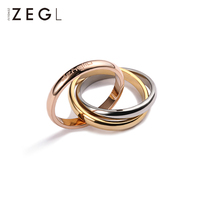 ZEGL Eternal Ring Stackable Ring Three Rings Ring Titanium Steel Ring Exquisite Ring