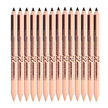 New Double-headed Black Eyeliner Creative Easy To Wear Dual-use Eyebrow Pencil + Portable Durable Waterproof Concealer Pen TSLM2