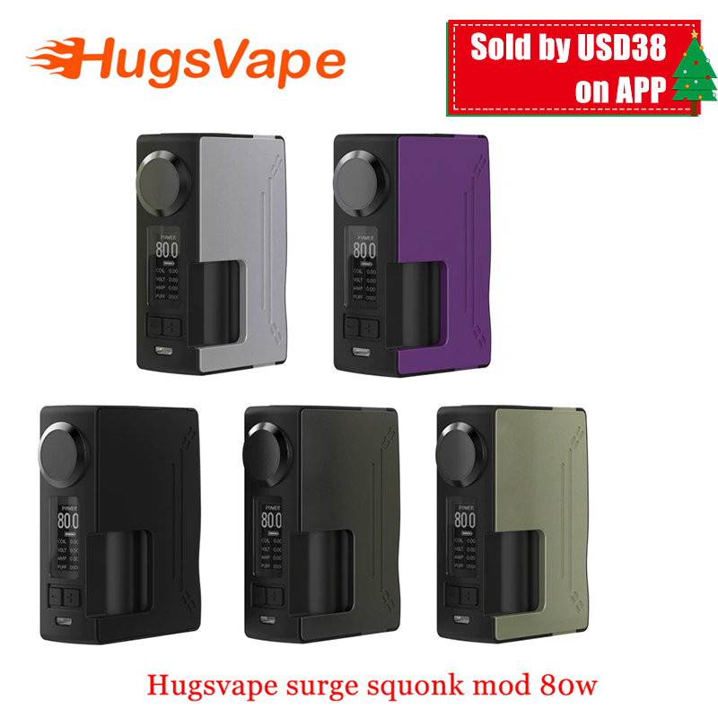 Original Hugsvape Surge Squonk 80W Surge Squonk Mod Electronic Cigarette Box Vape for Piper RDA Atomizer Powered by Single 18650