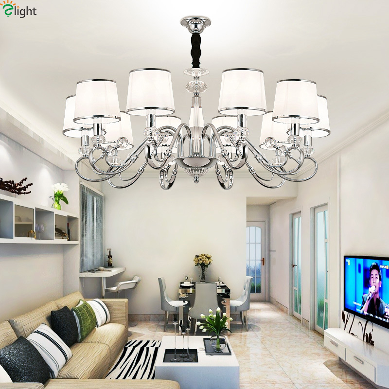 Modern Lustre Crystal Led Chandelier Lighting Chrome Metal Living Room Led Pendant Chandeliers Light Dining Room Hanging Lights modern hanging chandelier lighting living room dinning crystal chandelier led lights chrome chandeliers modern crystal lighting