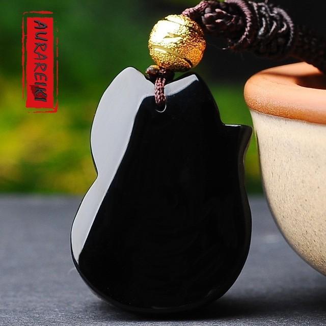 Obsidian Fox Necklace Charm