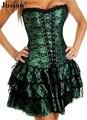 Jusian das mulheres Push Up Corset Sexy Lingerie conjuntos com saia Bustier roupa Corselet vestido preto verde roxo XM2163