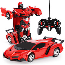 YETAA Electric RC Car Sports Shock Resistant Car Transformation Robot Toy Remote Control Deformation Car RC Robots Children Gift(China)
