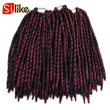 Silike 12″ 18″ 100g 1PC/lot 2x Ombre Crochet Braids Faux Locs Hair Red Brown purple Bug Colors Bulk Braiding Synthetic Hair