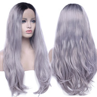 s noilite Ombre Gray 2 Tones Synthetic Hair Lace Front Wig Dark Roots Long Natural Straight Silver Grey Replacement Hair Wigs