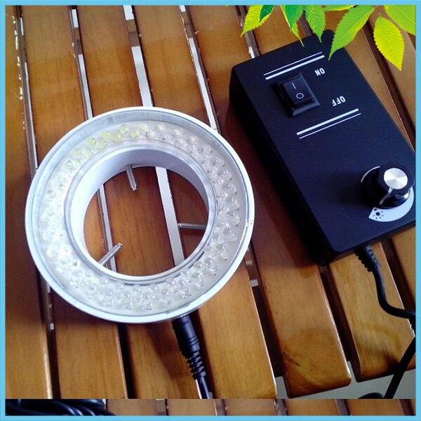 ФОТО 66mm Inner Diameter 64 PCS LED Ring Lamp Metal Shell Brightness Adjustable Ring Light with Adapter for Microscope Illumination