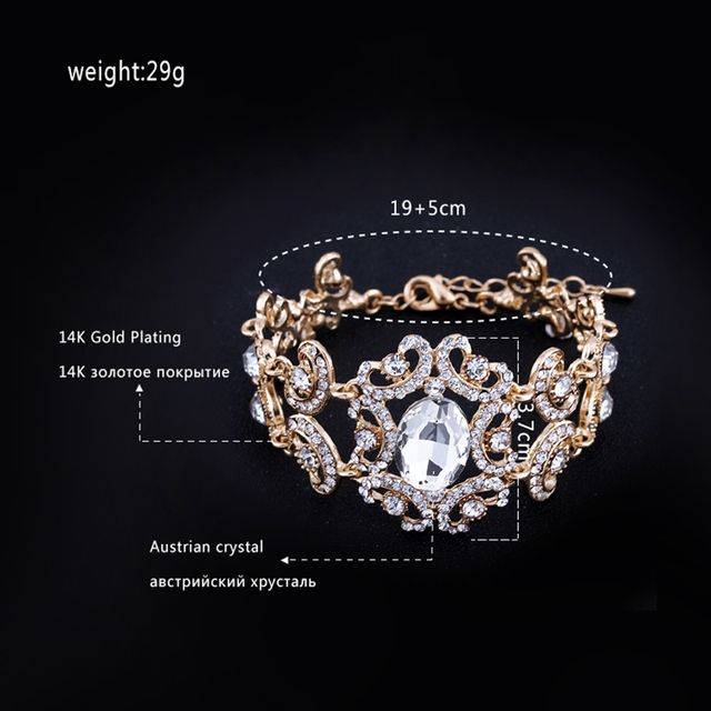 Minmin Big Crystal Gold Plated Floral Bracelets for Women Gifts Wholesale Fashion Jewelry African Beads Bangles SL092-gold