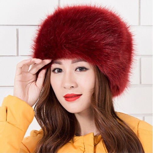 69d3c1817e7 2018 Lady Russian Tick Fluffy imitation Fox Fur Hat Women Hats Headband  Winter Earwarmer Ski Hat Female Hats For Autumn winter