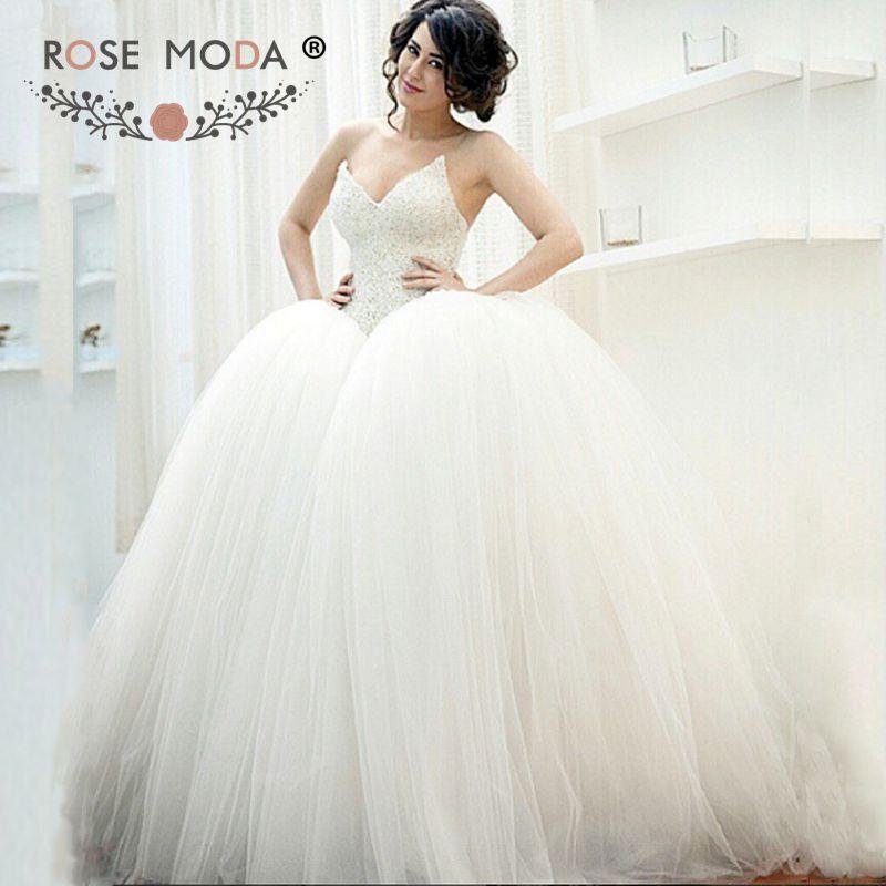 c8fab7edd0 Rose Moda Luxury Princess Wedding Dress 2019 with Crystal Beaded Corset  Tulle Bridal Dress with Ball Skirt