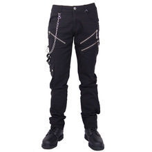 Devil Fashion Vintage Dark Punk Male Straight Combat Cargo Trousers in Cotton Casual Black Zipper Chain Gothic Pants for Men