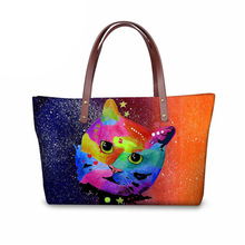 Stylish Women Totes Cross Body Bags Colorful 3D Cat Printing Handbags for Ladies Big Capacity Shoulder Shopping Bags stylish 3d metallic flowers printing clutch