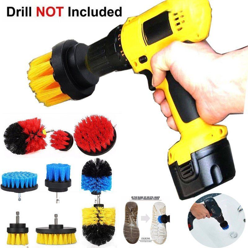 Power-Scrubber-Brush-Set Attachment-Kit Bathroom-Drill For Cleaning 3pcs