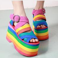 2017 Fashion Summer New Colorful Rome Style Platform Sandals Botas Gladiator Sandals Women Strap High Heels Wedges Dress Shoes