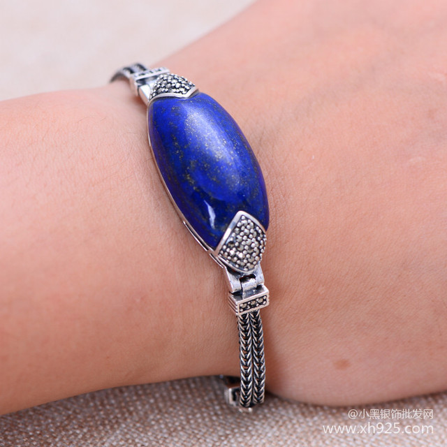 Black silver jewelry wholesale 925 sterling silver jewelry natural Lapis Inlay Marcasite ethnic bracelet 45605