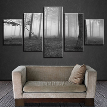 Wall Art Poster Home Decor 5 Pieces Psychedelic Forest Scenery Canvas Print Black And White Painting Modular Pictures Framework