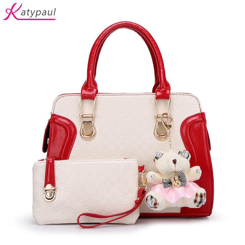 Pink Cute Bear  Women Bags 2017 New Fashion PU Leather Women's Shoulder Bag Crossbody Bags Casual Famous Brand Ladies Handbags