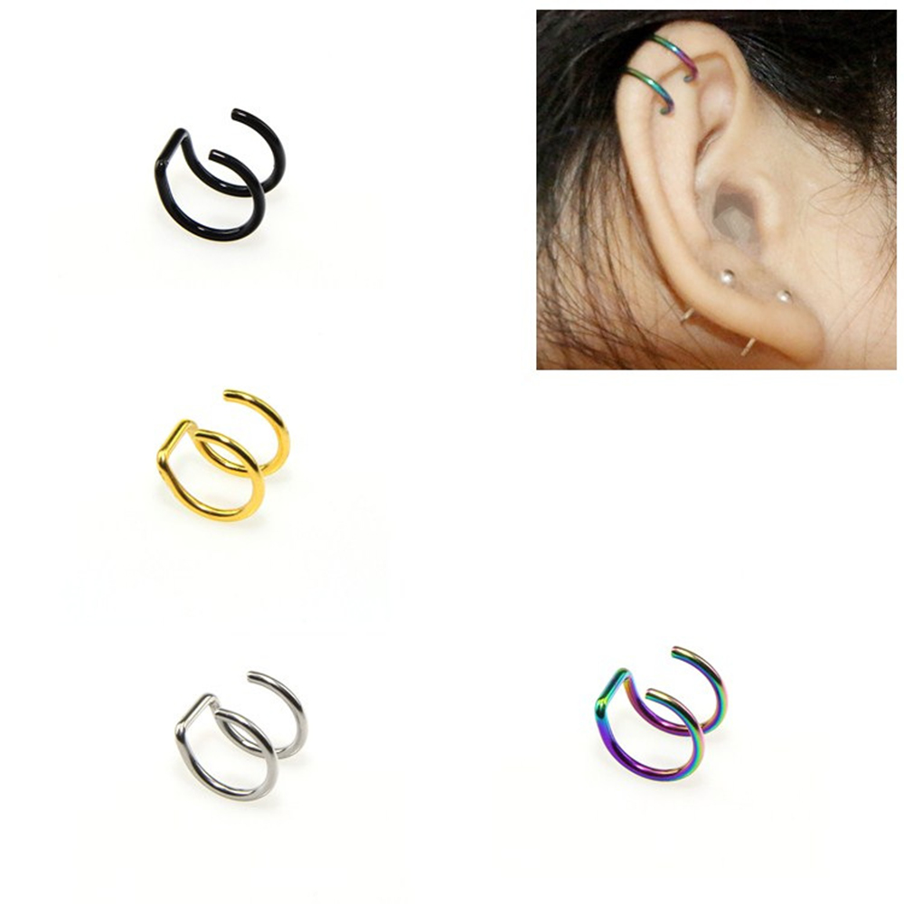 MODRSA 1pc U Shape Clip On Wrap Earring Tragus Stainless Steel 2 Rings Ear Cuff Clip Nose Ring Fake Piercing Body Jewelry