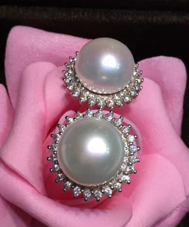 Livraison gratuite luxe Noble bijoux style 12-13mm blanc naturel d'eau douce plat perle boucle d'oreille 925 argent