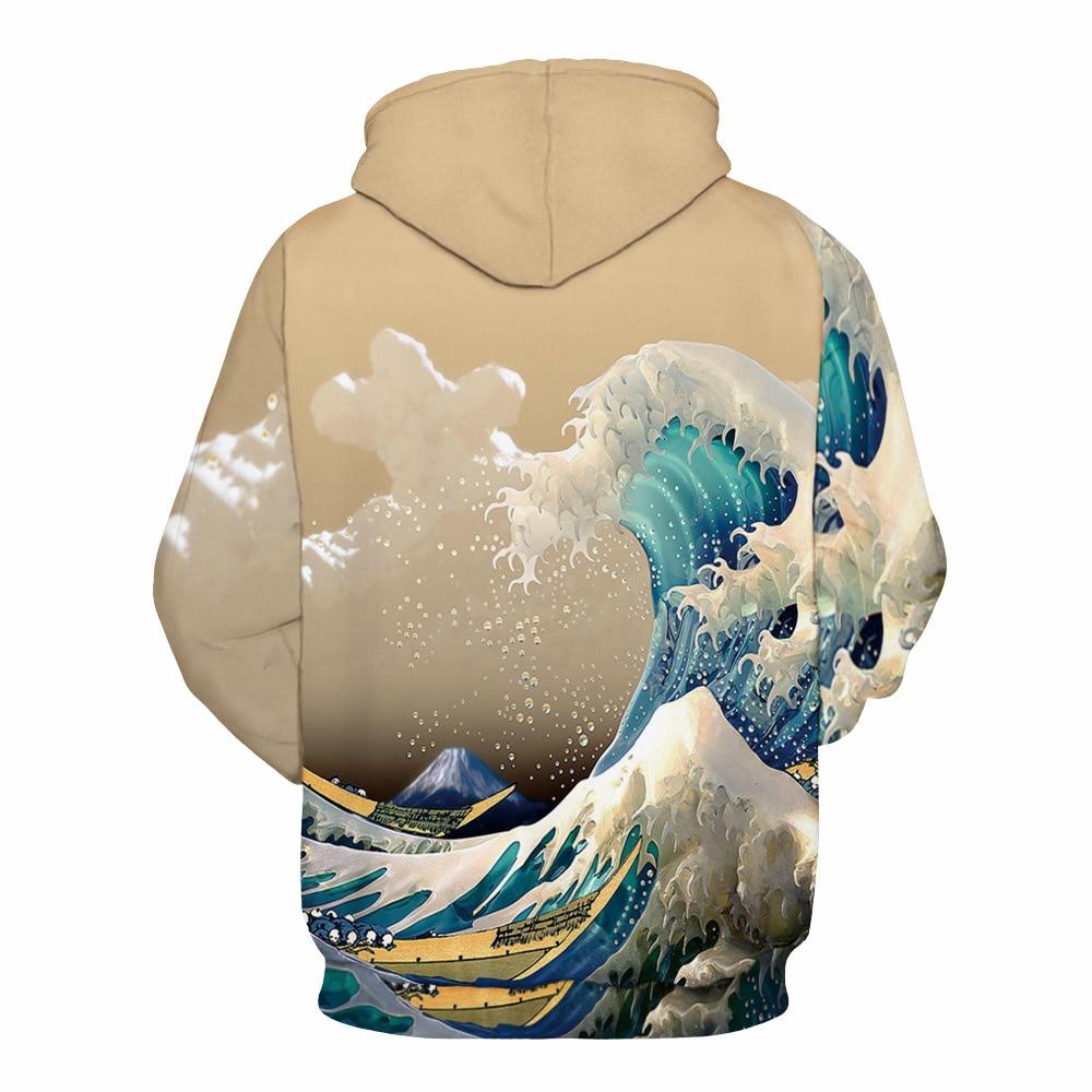 CFYH 2018 New Fashion Waves Hoodies Men/Women 3D Sweatshirts Print Colorful Sea Waves Unisex Thin Stylish Hooded Hoodies