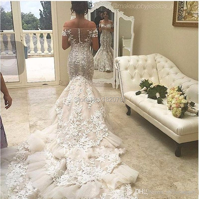5bfd58c2e6bd2 Off Shoulder Lace Mermaid Wedding Dresses 2017 Appliques Backless Tiered  Skirts Ruffles Tulle Chapel Train Vintage
