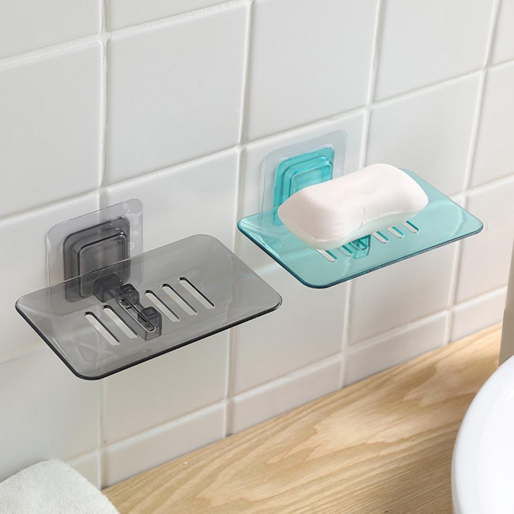Wall Mount Sucker Seifenschalen Container Tray Halter mit Abfluss Duschraum