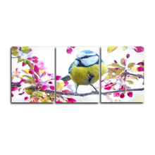 Laeacco 3 Panel Bird and Flower Canvas Painting Decorative Wall Art For Home Decor Picture for Living Room Bedroom Decoration