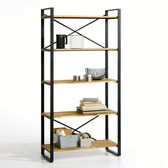 Simple Retro Iron Bookcase Shelves Shelving Storage Rack Ikea Creative Cut Wood To Do The Old