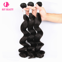 Hot Beauty Hair Loose Wave Peruvian Remy Hair Natural Black Color Human Hair Weaving 1PC Only