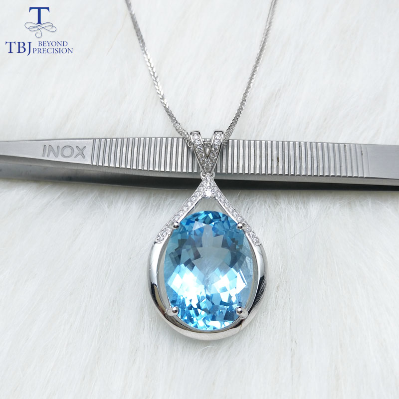 TBJ,Extra big pendant with natural sky blue topaz oval 13*18 15ct up gemstone pendant in 925 sterling silver fine jewelry gift