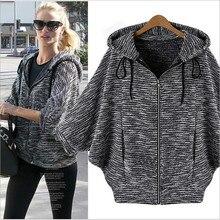 ForeMode Bat Sleeve Hooded Cardigan Jacket Women Repair Idle Jacket Plus Size Coat  Outerwear Long sleeve Jackets