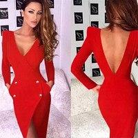 CIEMIILI 2019 Sexy V Neck Full Sleeve Backless Bownot Knee Length Celebrity Party Bodycon 2018 Women Fashion Bandage Dress