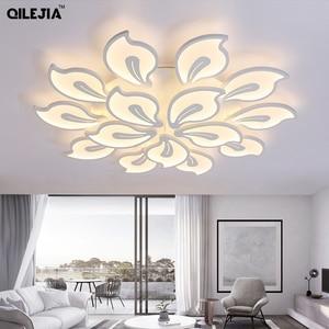 Image 2 - אקריליק מודרני תקרת אורות למיטה בסלון חדר לבן צבוע Plafond led תקרת מנורת שלט רחוק תאורת גופי