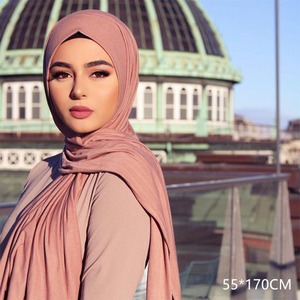 Image 4 - 저지 스카프 여성 솔리드 컬러 탄력 면화 Shawls 우아한 겸손 이슬람 Hijab 스카프 대형 양질 스카프 목도리
