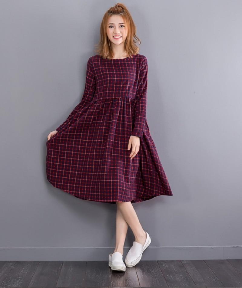 92bab723ec46 AREALNA 2018 Vintage Autumn Midi Dress women Plaid Dress female Long Sleeve  Retro Cotton Linen Dresses for women vestidos mujer