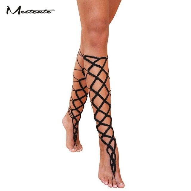 Meetcute 1 Para Fusskettchen Armband Am Bein Sexy Romischen Gitter
