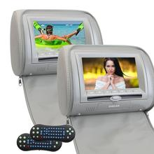 2PCS Car DVD Player Multimedia Headrest Pillow TFT LCD Wide 7 Inch Digital Screen Auto Monitor Included FM Transmitter (Gary)