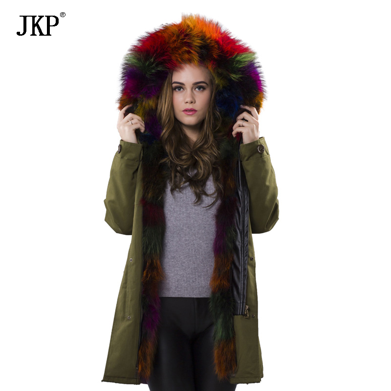 New 2017 Winter Jacket Women Real Large Raccoon Fur Collar Thick Loose size Coat outwear Parkas Army10223 2017 winter new clothes to overcome the coat of women in the long reed rabbit hair fur fur coat fox raccoon fur collar