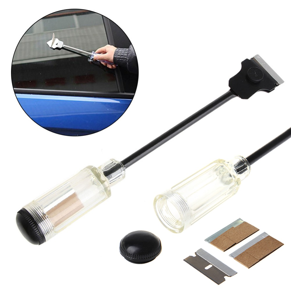Car Sticker Paint Extension Scraper Remover Tool Long Reach Handle + Razor Blade