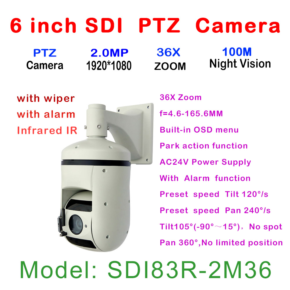 New 36X Optical Zoom IR 100M PTZ HD-SDI High Speed Dome Camera With Wiper,WDR, 360 degree rotation, lightning proof, surge proof onvif hd 2 0mp 20x optical zoom 100m ir distance 1080p ptz cctv wired camera speed dome camera with auto wiper
