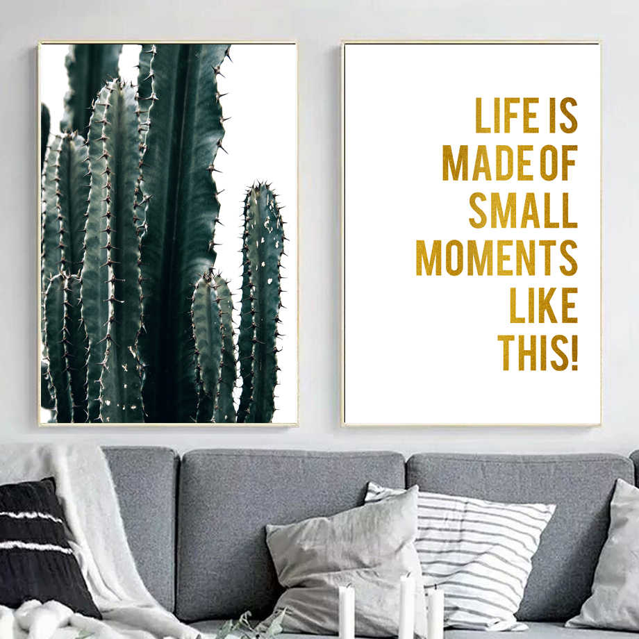 Cactus Plant Gold Inspirational Quotes Wall Art Canvas Painting Nordic Posters And Prints Wall Pictures For Living Room Decor