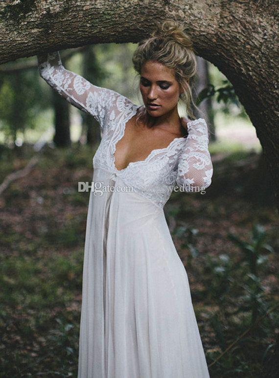2017 Maternity Wedding Dresses With Long Sleeves Lace Chiffon Sexy V Neck Empire Beach Bohemia Plus Size Gowns In From Weddings