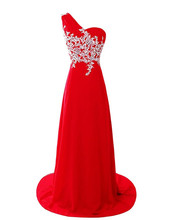 Evening font b Dresses b font Long One Shoulder Red Chiffon Appliqued font b Prom b