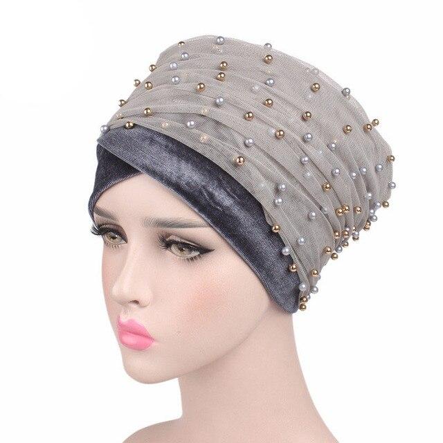 Massa de luxo Ouro Bandanas Lenço Turbante Frisado Malha Cabeça envoltório de Veludo Nigeriano Cabeça Turbante Hijab Das Mulheres Extra Longo cachecol
