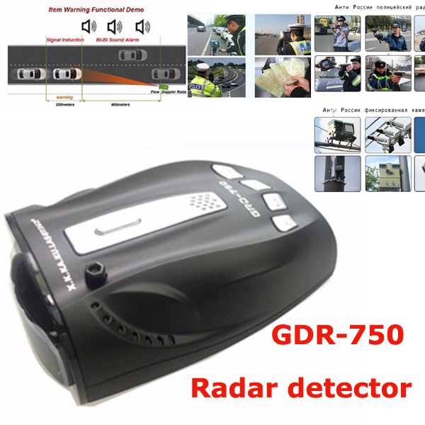 Best Car detector GDR-750 New Car Radar Detector Ruissian & English version Voice radar detector Alert Car Speed Alarm System new original 516 300 s242 s4 d warranty for two year