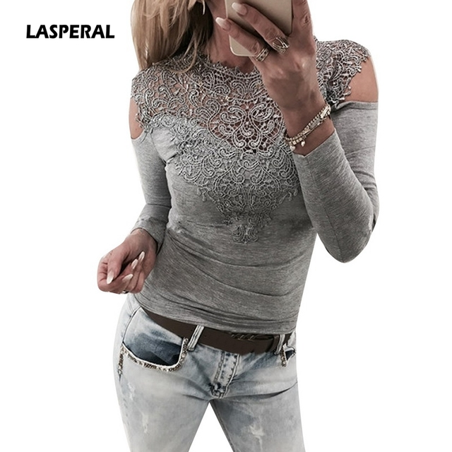 5954b12ee2 US $5.62 26% OFF|LASPERAL Sexy Lace Blouses Shirts Women Patchwork Off  Shoulder Tops 2019 Spring Blusas Feminina 4 Colors Slim Party Women  Blouse-in ...