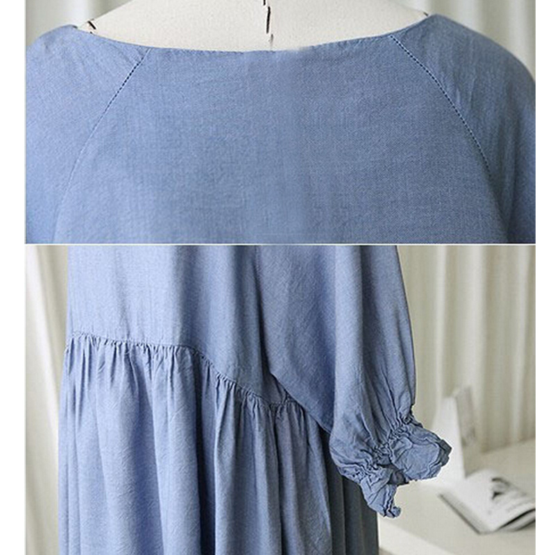Large Size T Shirt Maternity Dress Elegant Pure Blue Dress For Pregnant  Women Maternity Clothes Pregnancy Clothes -in Dresses from Mother   Kids on  ... bf762bf84493